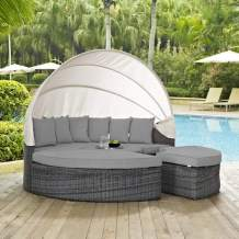 Modway Summon Outdoor Patio Daybed with Canopy and Sunbrella Cushions in Canvas Gray