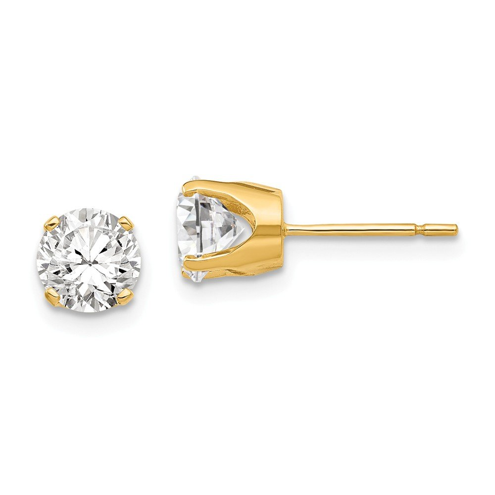 14k Yellow Gold 5.75mm Cubic Zirconia Cz Stud Earrings Fine Jewelry For Women Gifts For Her