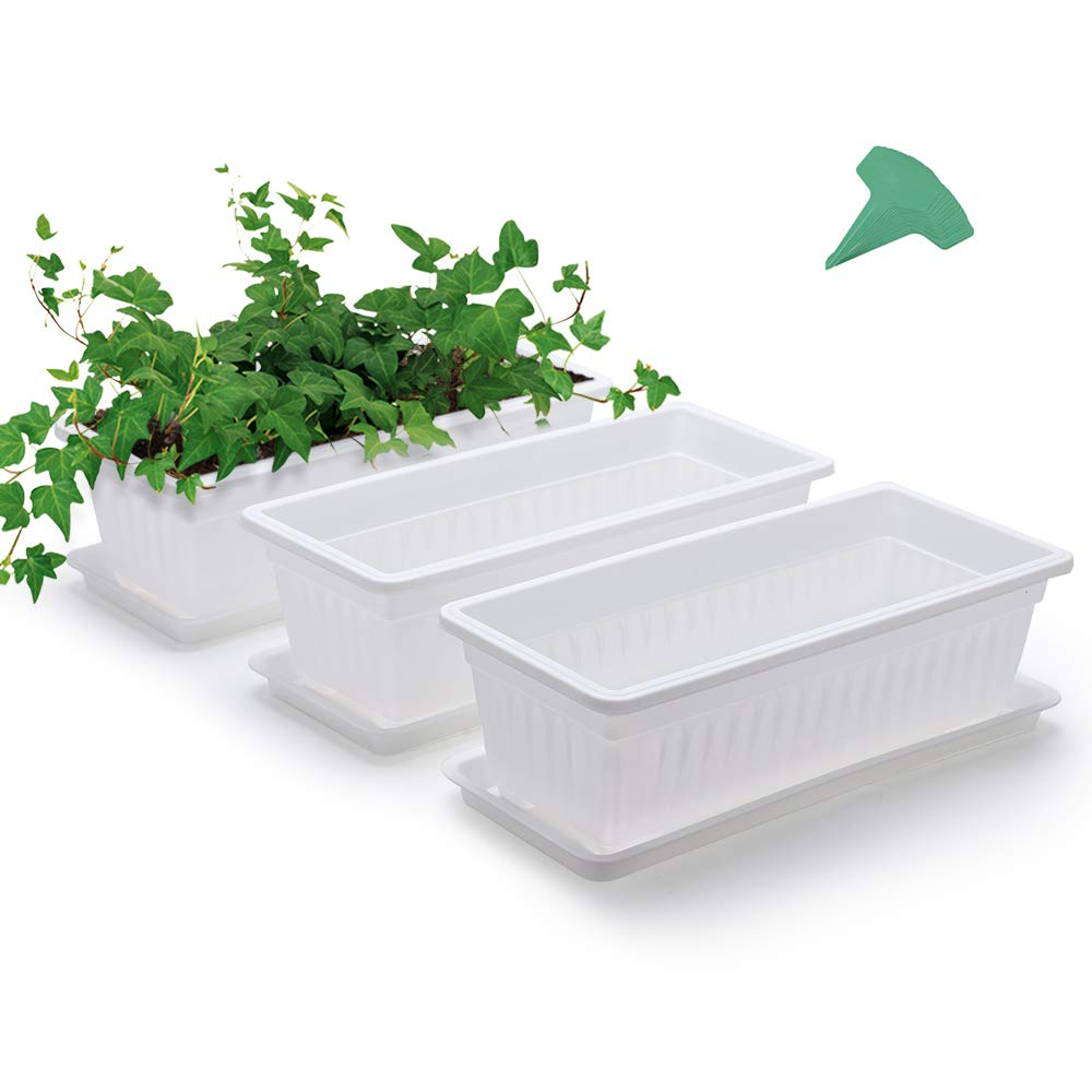 GROWNEER 3 Packs 15 Inches White Flower Window Box Plastic Vegetable Planters with 15 Pcs Plant Labels, for Windowsill, Patio, Garden, Home Décor, Porch