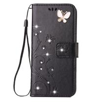 iPhone X/XS Handmade Case,Aulzaju iPhone X/XS Luxury 3D Bling Rhinestone Soft Slim Flip Stand Wallet Cover for iPhone X/XS 5.8 Inch Flower Butterfly PU Leather Diamond Case for Girls Women-Black