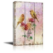 wall26 - Yellow Canary Birds on Branches with Pink Roses Over Wood Panels - Nature - Canvas Art Home Art - 12x18 inches