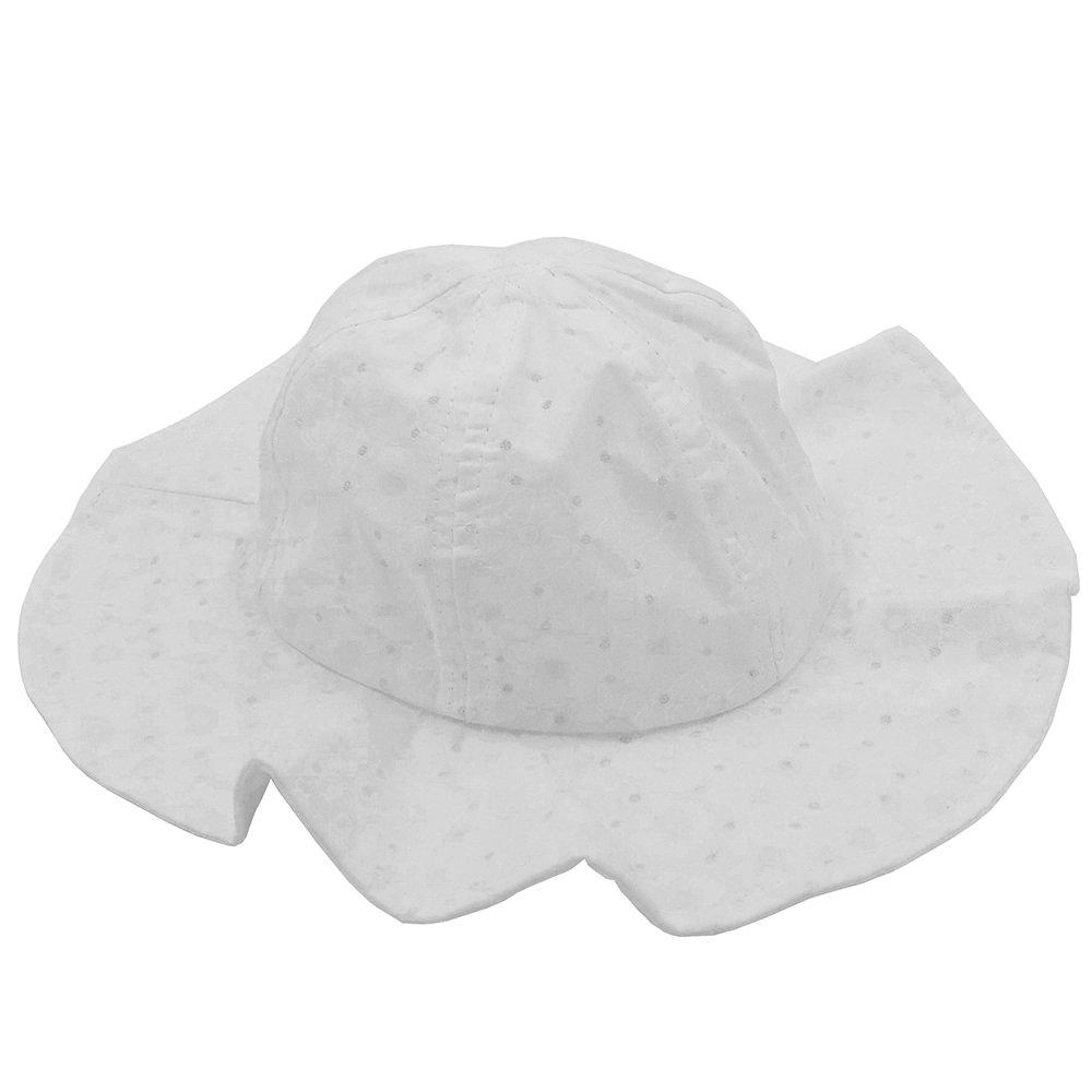 mygreen Infant Toddlers Baby Girls Eyelet Hollow Wide Brim Sun Protection Summer Hat (White, Medium)