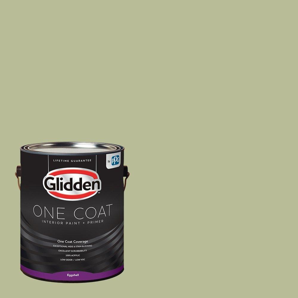Glidden Interior Paint + Primer: Sage/Bahia Grass, One Coat, Eggshell, 1-Gallon
