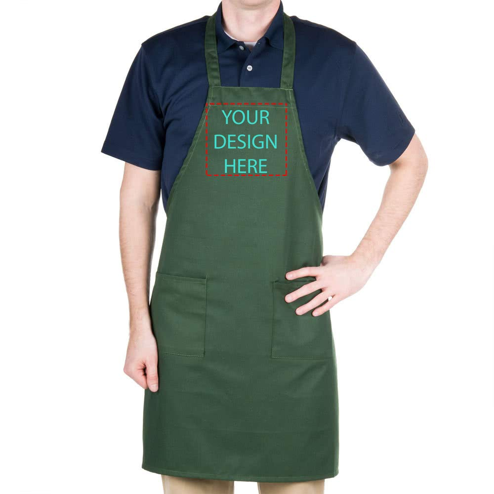 PLACE4PRINT Custom Grill Aprons Chef Kitchen Add Your Text Personalized Embroidered Apron Cooking Baking Full-Length for Women Men Unisex. (Green)