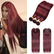 8A Brazilian Virgin Hair 99j Burgundy Straight Hair Weaves 3 Bundles with Lace Closure 4x4 Free Part Red Wine Color 100% Unprocessed Human Hair Weft Weaves (10 12 14 with 10C, 99j/burgundy/wine red)