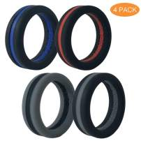 WENSUNNIE Silicone Rubber Wedding Bands/Rings for Mens, Men Silicone Wedding Band for Sports Gym Outdoors