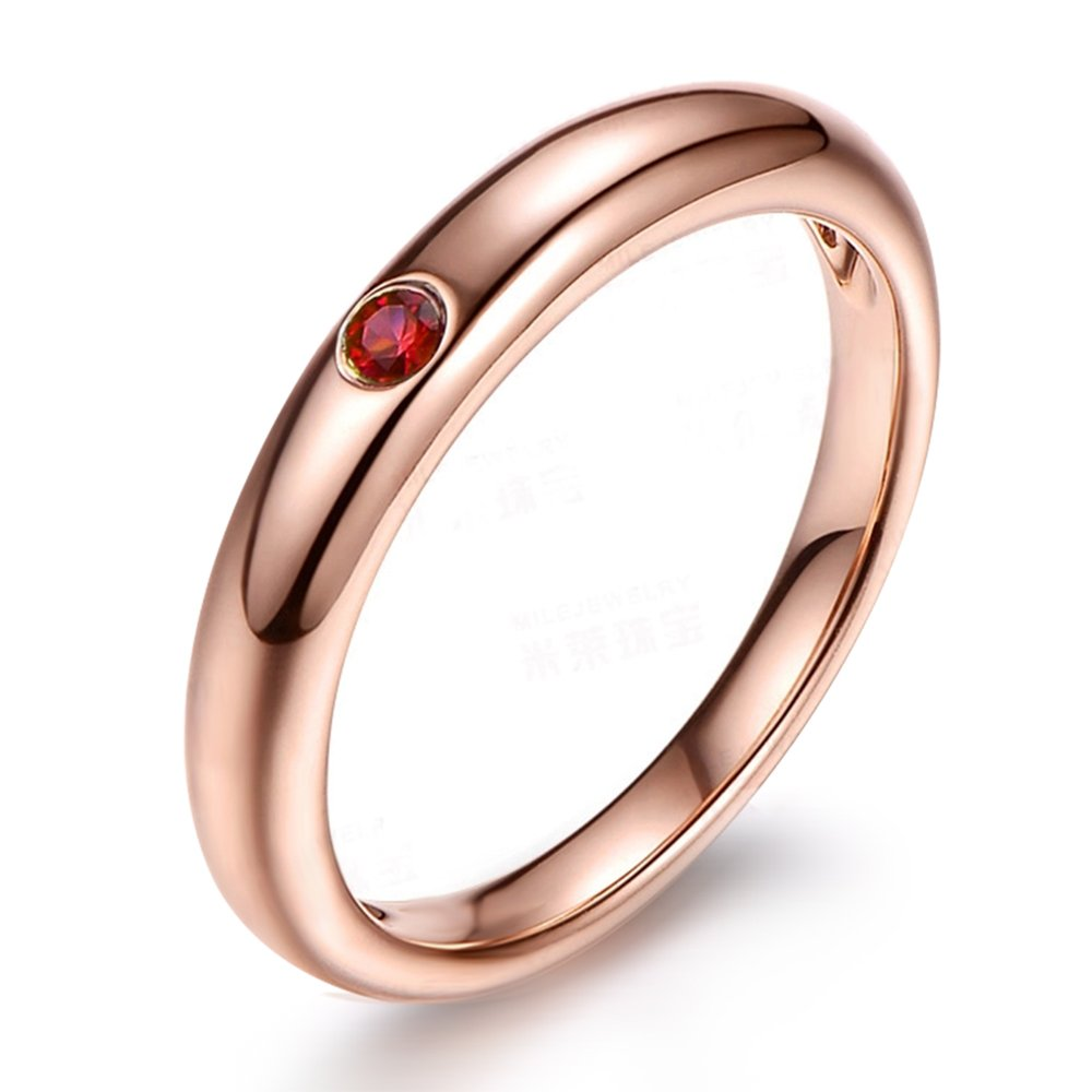 Simple Promise Genuine Natural Gemstone Ruby (0.05ct) 14K Rose Gold Women Ring for Wedding Engagement Set
