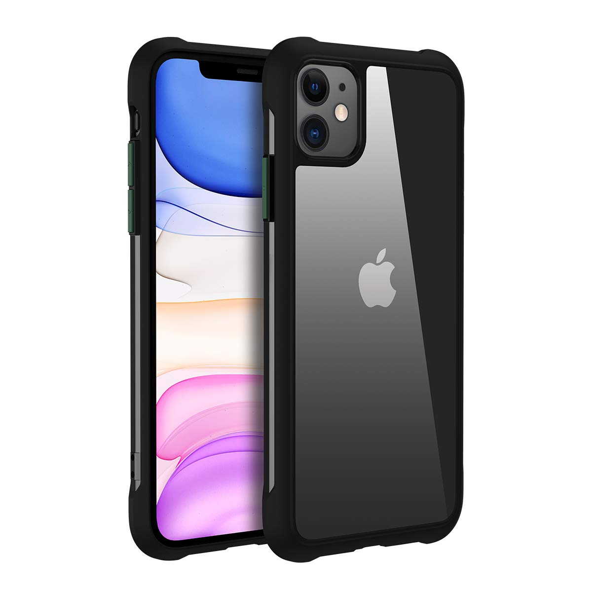 joyroom Compatible with iPhone 11 Case,Anti-Drop Hybrid Cases for iPhone 11,6.1 inch Clear PC Back Cover Black