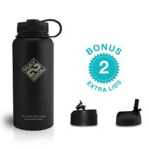 Way 2 Cool - Stainless Steel Water Bottle, Wide Mouth - Plus 3 LIDS