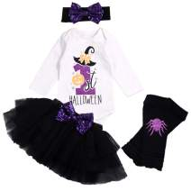 My First Halloween Newborn Baby Girl Outfits Long Sleeve Top + Tutu Skirt + Headband + Leg Warmers Clothes Set