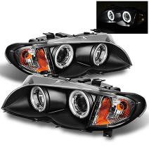 For 02-05 BMW E46 3-Series 4 Doors Sedan Black CCFL Halo Ring LED Projector Headlights Left +Right w/Built In Corner