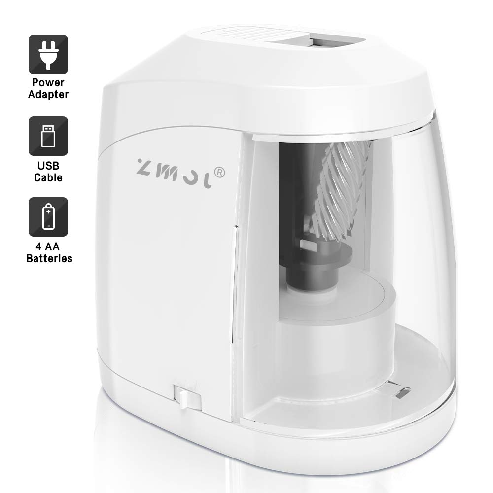 Electric Pencil Sharpener, Durable Helical Blade to Fast Sharpen, Auto Stop for No.2/Colored Pencils(6-8mm), USB/Battery Operated in School Classroom/Office/Home (WHITE)
