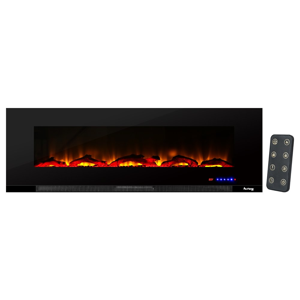 e-Flame USA Livingston 60-inch Wall Mount LED Electric Fireplace Stove with Timer - 3-D Log and Fire Effect