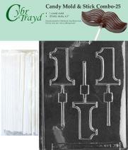 """Cybrtrayd 45St25-L029 1 Lolly Chocolate Candy Mold with 25 Cybrtrayd 4.5"""" Lollipop Sticks"""