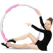 Buaszay Exercise Hoop for Adults and Child, Remove or Install The Number of Sections to Change The Size, and Can Increase its Weighted (Pink + White, 8 Sections,2 Pounds)