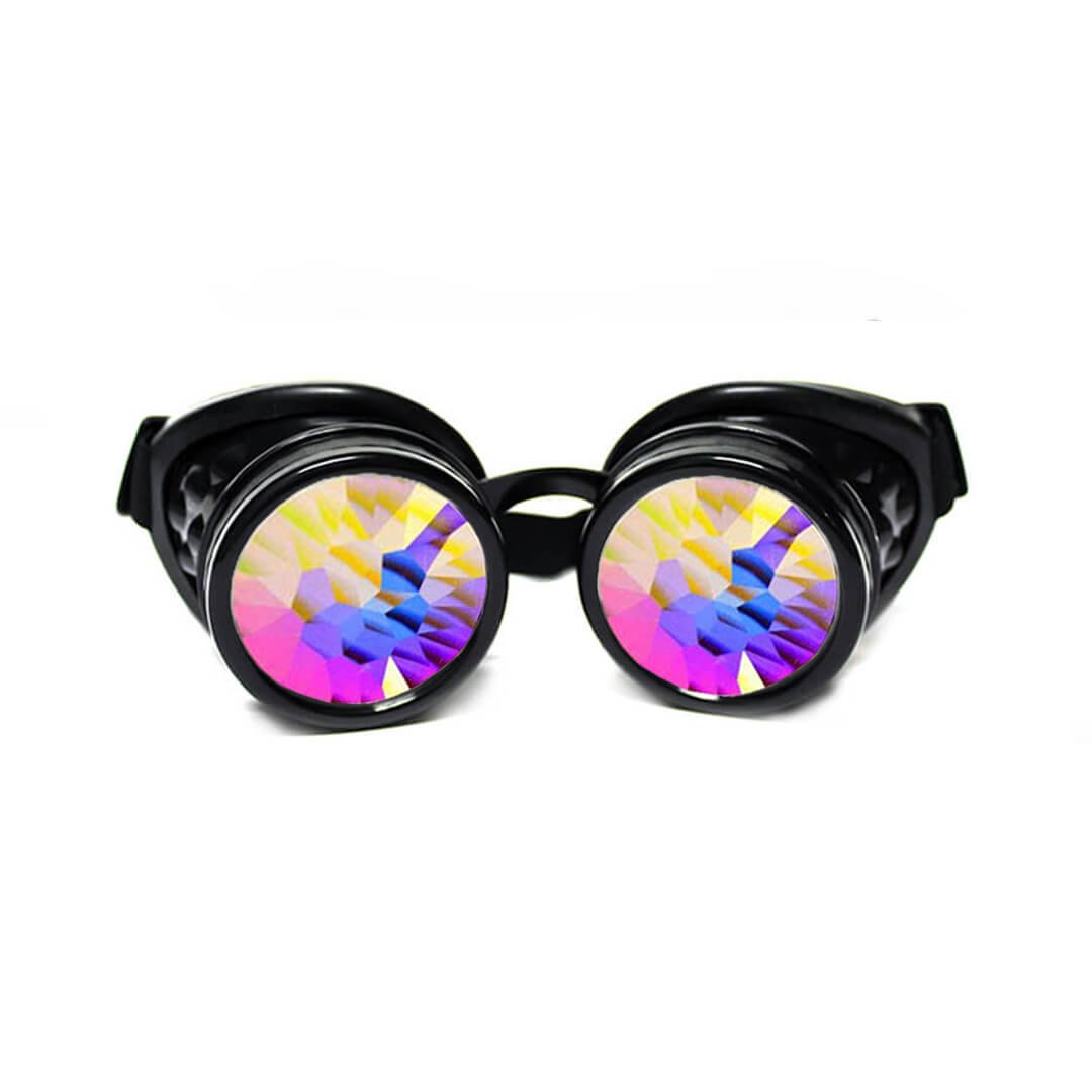 GloFX Black Kaleidoscope Goggles - Prism Steampunk Cyber Real Crystal Rainbow Lenses Drunk Goggles