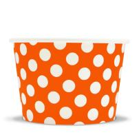 [1,000 Count] Orange Paper Ice Cream Cups - 8 oz Polka Dotty Dessert Bowls Perfect For Yummy Treats! Frozen Dessert Supplies