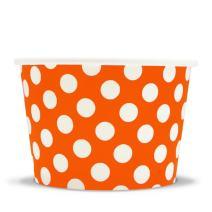 [50 Count] Orange Paper Ice Cream Cups - 8 oz Polka Dotty Dessert Bowls Perfect For Yummy Treats! Frozen Dessert Supplies