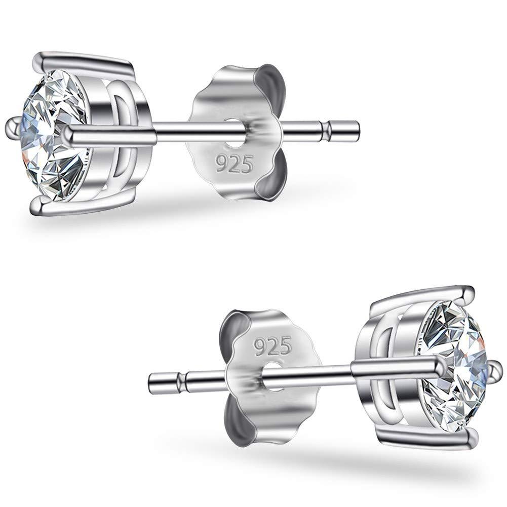 Men's Diamond Stud Earrings Hypoallergenic for Men Zirconia White Simple Vintage With Elegant Earring Piano Paint Jewelry Gift Box Diamond Shaped Golden Case Christmas Gift