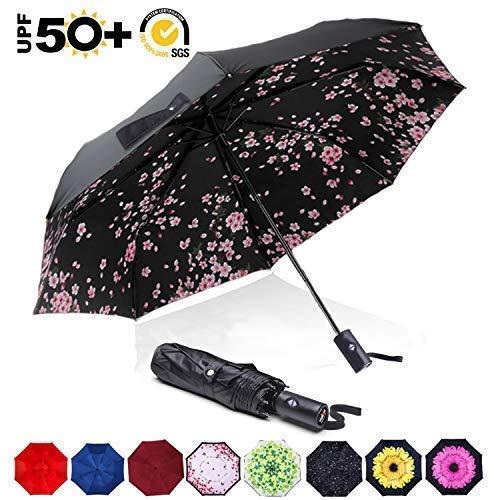 ABCCANOPY Umbrella Compact Rain&Wind Teflon Repellent Umbrellas Sun Protection with Black Glue Anti UV Coating Travel Auto Folding Umbrella, Blocking UV 99.98%,cherry blossoms