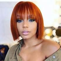 Gemilla Short Bob 360 Lace Front Human Hair Wigs with Air Bangs, 150% Density (Orange, 8 Inch)