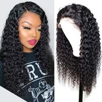 HD Lace Front Wigs Human Hair Deep Curly Transparent Lace Wigs Pre Plucked Curly Lace Front Human Hair Wigs with Baby Hair for Black Women 130% Density (22 Inch, HD 13x4 Lace Front)