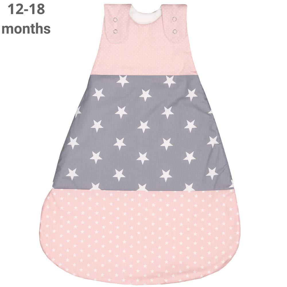 ULLENBOOM Baby Sleep Sack - 12-18 Months - TOG 2.5 - Organic Cotton - Wearable Blanket - Girl Pink Grey - Sleeping Bag
