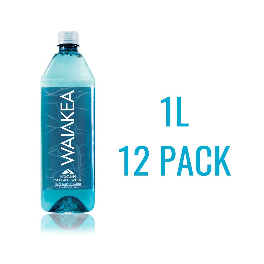 Waiakea Hawaiian Volcanic Water, Naturally Alkaline, 100% Upcycled Bottle, 1L (Pack of 12)