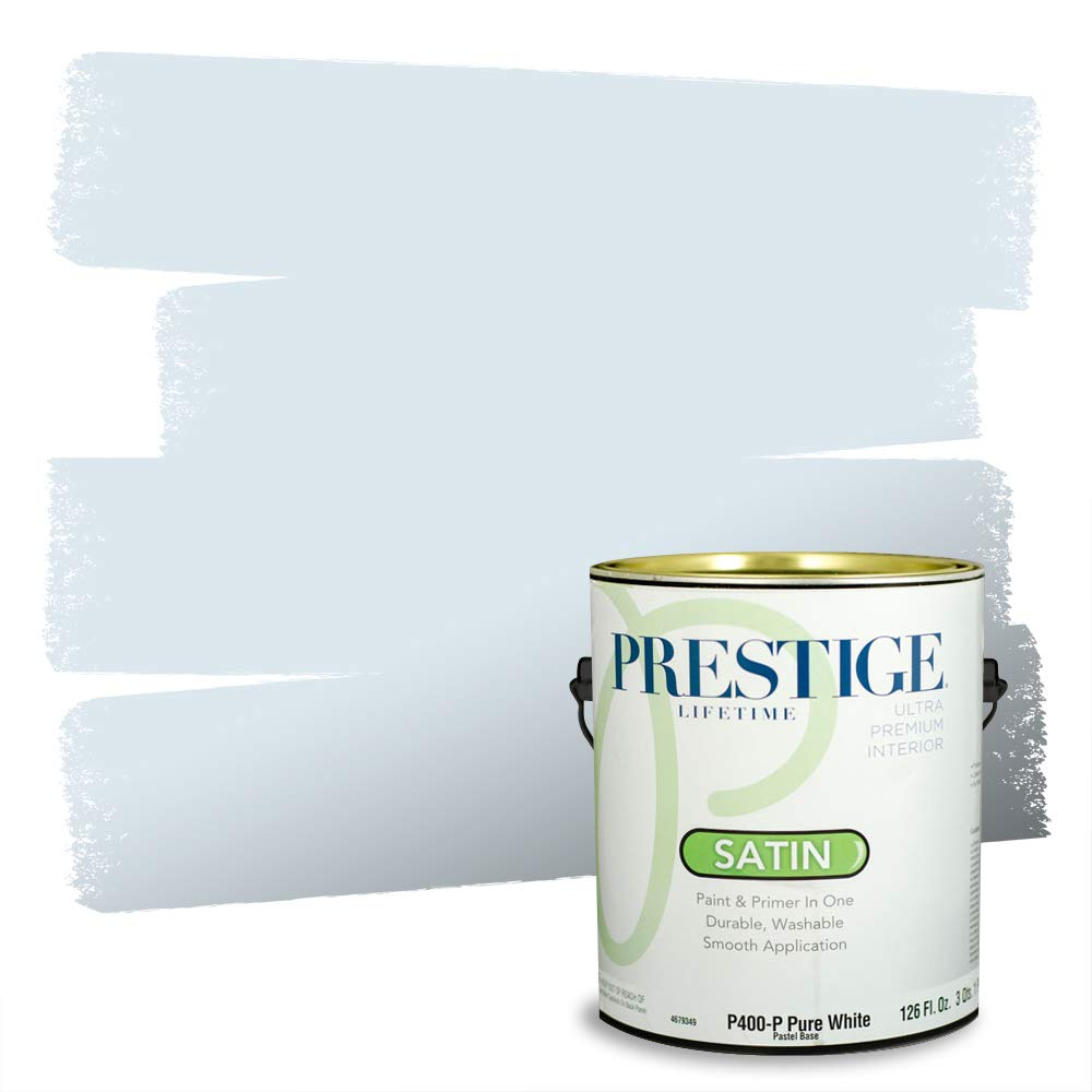 PRESTIGE Blues and Purples 5 of 8, Interior Paint and Primer In One, 1-Gallon, Satin, Blue Mist