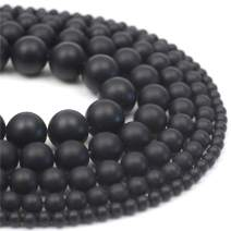 """Oameusa 6mm Natural Black Matt Agate Beads Round Smooth Beads DIY Materials Bracelet Necklace Earrings Making Jewelry Agate Beads for Jewelry Making 15"""" 1 Strand per Bag-Wholesale"""