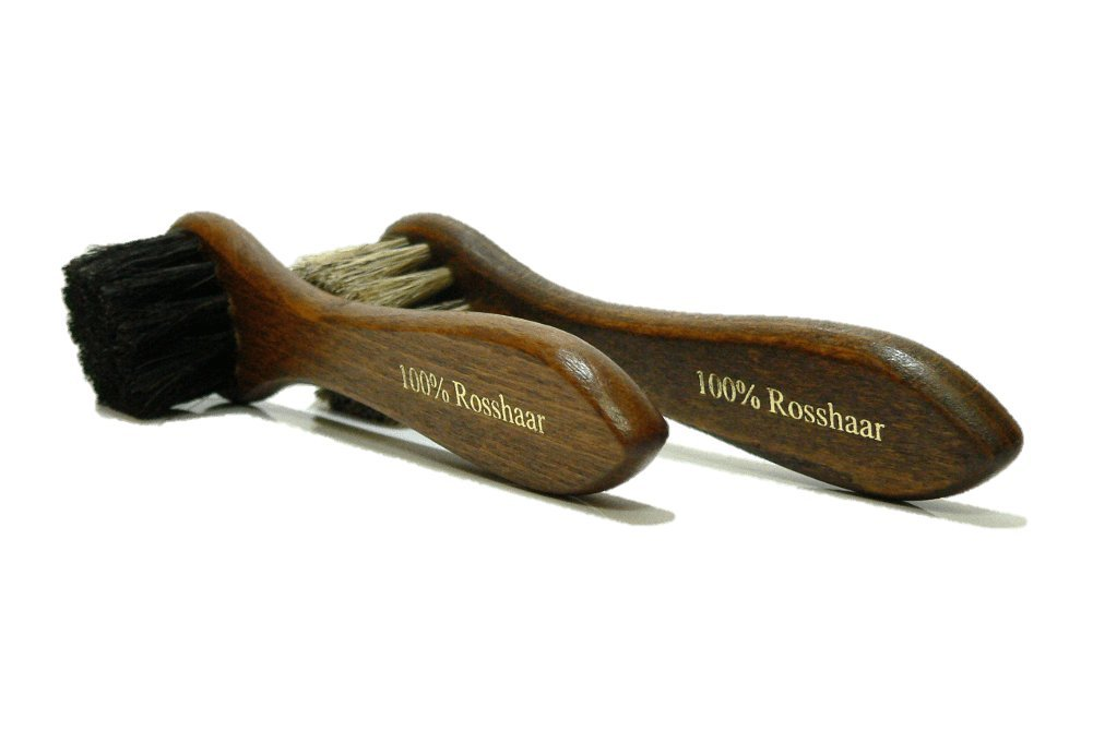 Valentino Garemi Shoe Polish Applicator Brush Traditional Set   Real Horse Hair & Hard Wood Handle   For all Leather Footwear & Boots   Manufactured in Germany