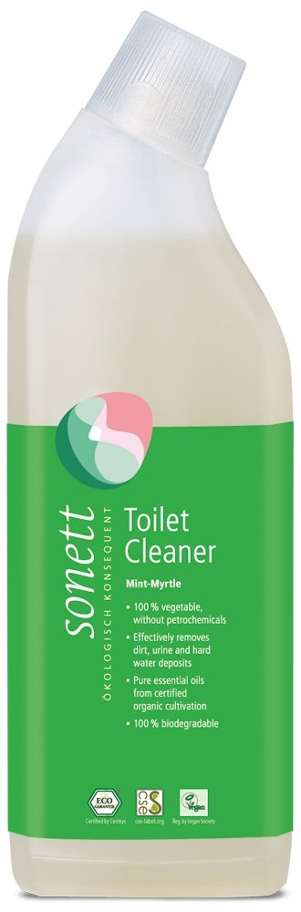 Sonett Organic Toilet Cleaner Mint-Myrtle,(25fl Oz/ 750ml) Effectively removes Dirt, Urine and Hard Water deposits.Pure Essential Oils from Certified Organic Cultivation.