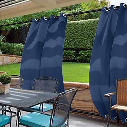 cololeaf Water Repellent Outdoor Decor Panel Grommet at top and Bottom Curtains/Drapes Panels for Patio,Front Porch,Gazebo, Pergola, Cabana, Dock, Beach Home,Navy 100W x 120L Inch (1 Panel)