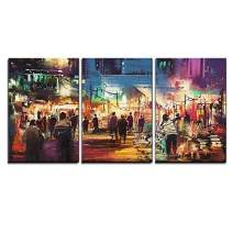 """wall26 - 3 Piece Canvas Wall Art - Painting of Shopping Street City with Colorful Nightlife - Modern Home Decor Stretched and Framed Ready to Hang - 16""""x24""""x3 Panels"""
