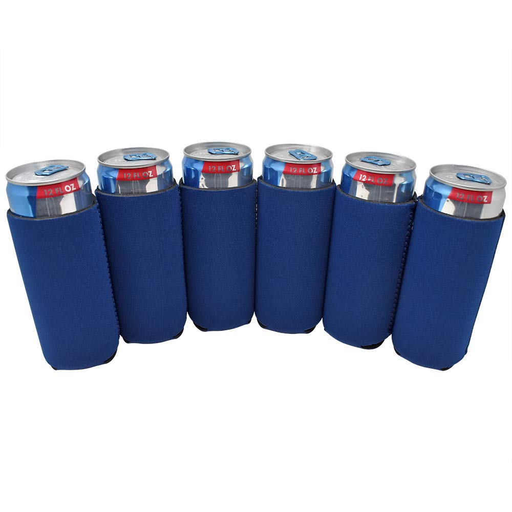 TahoeBay 12 Slim Can Sleeves - Blank Neoprene Beer Coolers – Compatible with 12oz RedBull, Michelob Ultra, White Claw Spiked Seltzer (Navy Blue, 12)