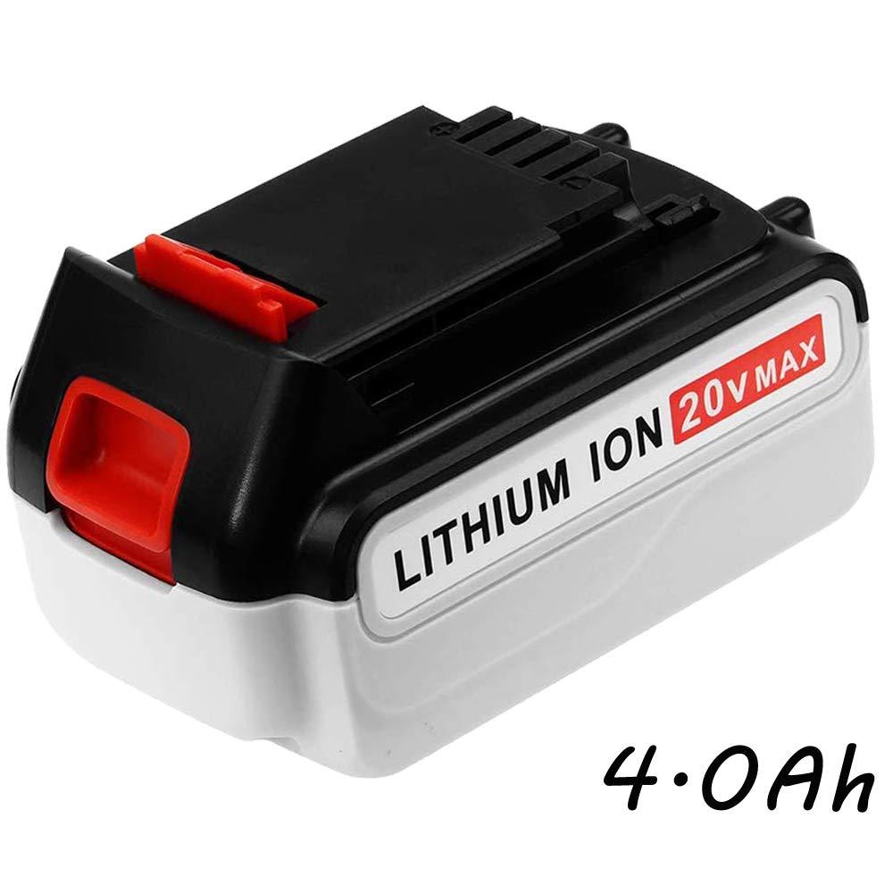LBXR20 20 Volt 4.0Ah Replacement for Black and Decker 20V Lithium Battery LB20 LBX20 LBXR2020-OPE LBXR20B-2 LB2X4020 LST220 Batteries