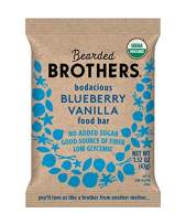 Bearded Brothers Vegan Organic Energy Bar   Gluten Free, Paleo and Whole 30   Soy Free, Non GMO, Low Glycemic, Packed with Protein, Fiber + Whole Foods   Blueberry Vanilla   5 Pack