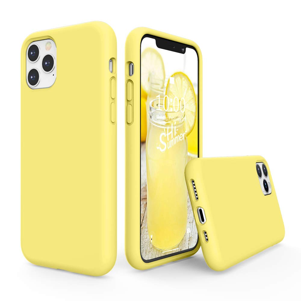 SURPHY Silicone Case Compatible with iPhone 11 Pro Case 5.8 inch, Liquid Silicone Full Body Thickening Design Phone Case (with Microfiber Lining) for iPhone 11 Pro 5.8 2019, Yellow