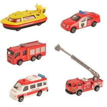 BOHS Canton Fire Department Rescue Vehicles - Mini Die-cast Metal Miniature Model - Hovership,Aerial Ladder Fire Trucks, Ambulance,Patrol Car,Water Tank Fire Engine(Pack of 5 )