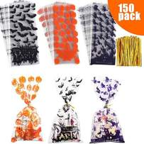 150 pieces Halloween Cellophane treat bags candy Bags Includes silver twist ties for Bakery Biscuit Chocolate Snacks Halloween Party Favors Homemade Craft, 3 patterns pumpkin, bat and witch design