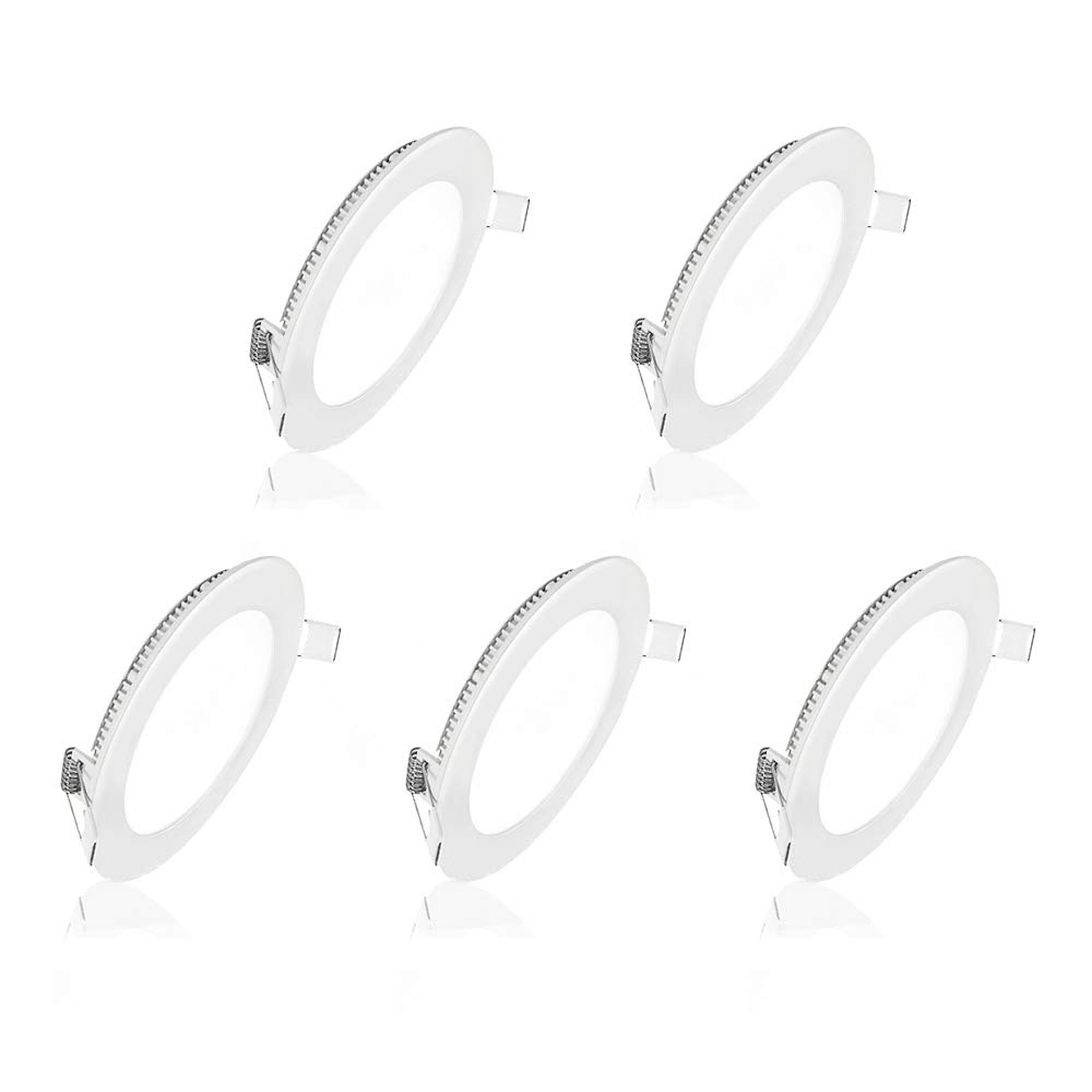 Pocketman 5 Pack Round Ultrathin 6W 4-inch Flat LED Recessed Panel Ceiling Light,400lumens,Cool White,AC85-265V,for Home, Office, Commercial Lighting