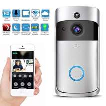 Wireless Video Doorbell with LED Ring Button HD WiFi Camera with Real-time Video, Two-Way Talk, Night Vision, Free Cloud Storage Support Indoor Chime iOS Android,Powered by Battery (non-waterproof)