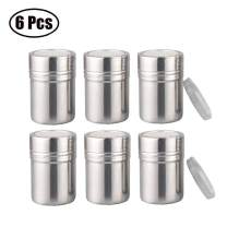 Powder Shaker with Lid,Stainless Steel Fine Mesh Shaker, for Sifter Cocoa,Cinnamon Powder,Icing Sugar,Chocolate Coffee (6 Pcs Small)