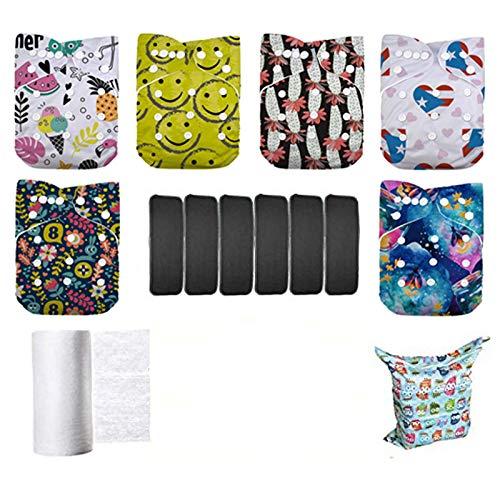 Lilbit Baby Boys' 6pcs Pack Washable Reusable Adjustable Pocket Cloth Diaper Nappies