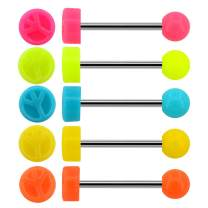 Jewseen Tongue Rings Piercing 5Pcs 14G 316L Stainless Steel Tongue Bars Five Jelly Candy Colors Tongue Barbells for Women