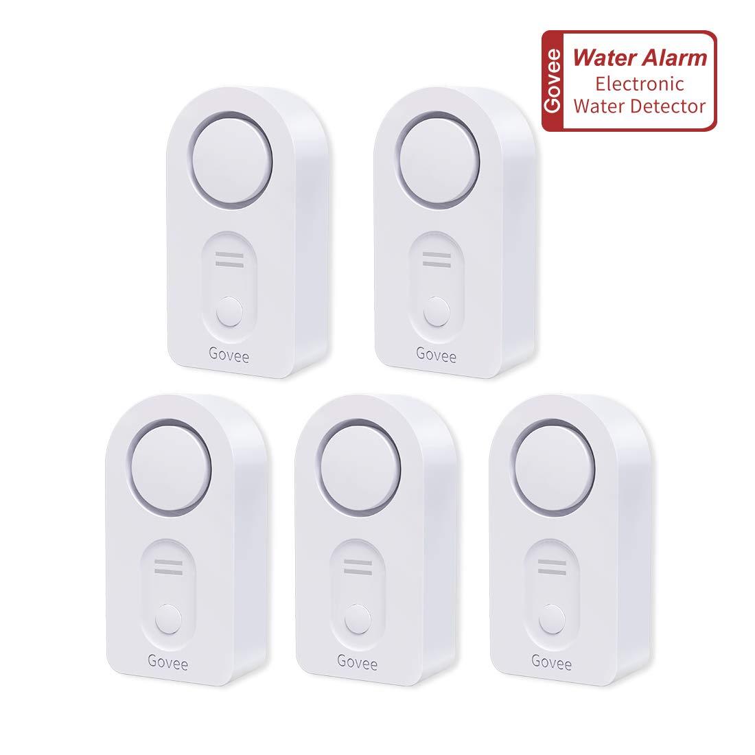 Govee Water Detectors, Wireless Water Leak Detector with 100 DB Loud Alarm, Water Sensor with Sensitive Leak Probes, Water Sensor Alarm for Kitchen Bathroom Basement Floor(Battery Included)-5 Pack