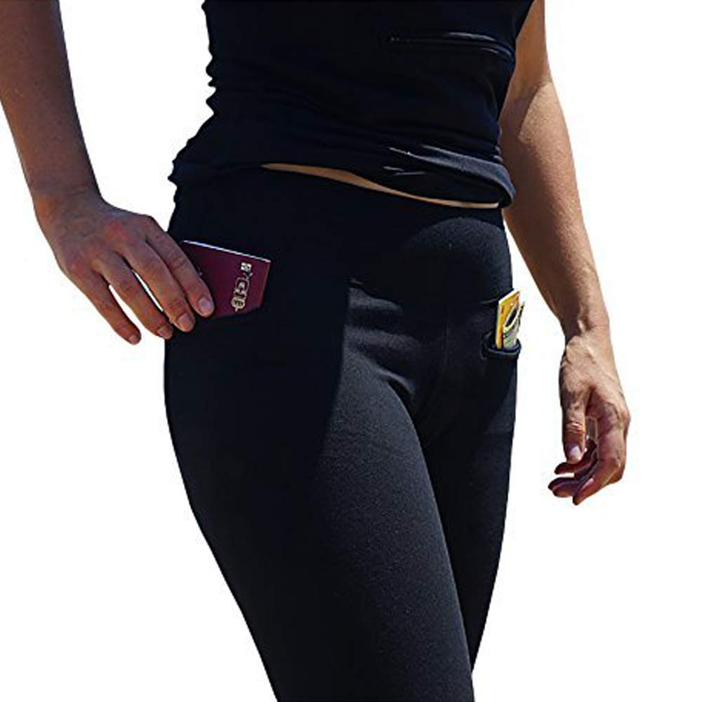 Women's Travel Leggings with Two Secret Hidden Pockets, Best Travel Pants for 100% Pickpocket & Loss Proof Holiday Tour