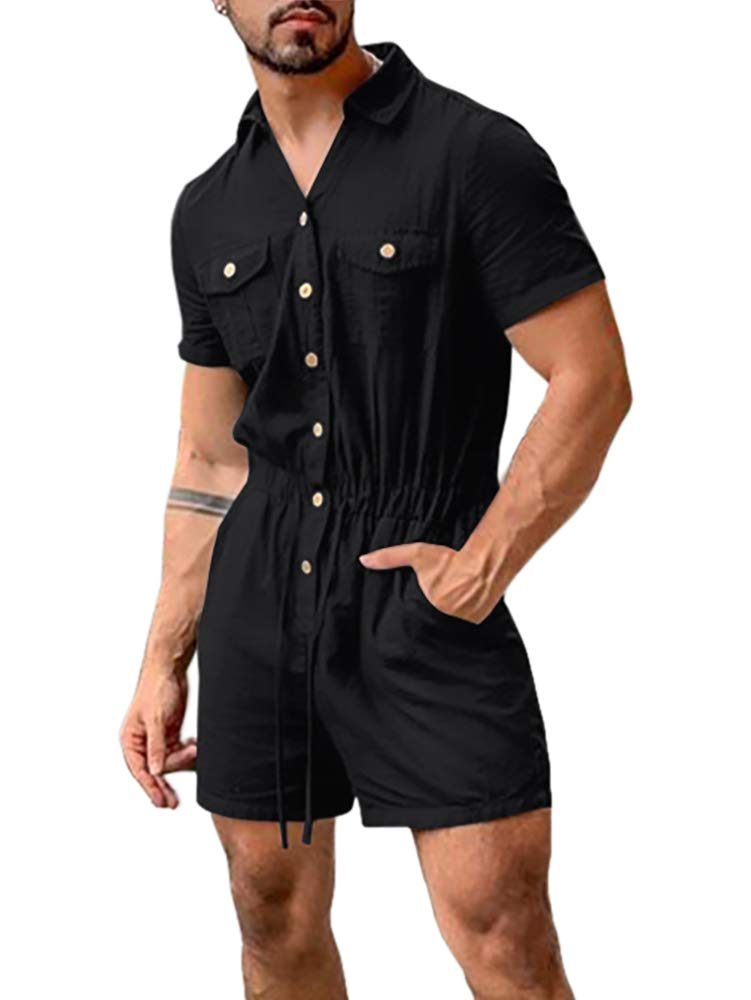 Hestenve Mens Romper Short Sleeve One Piece Button Down Jumpsuits Coverall Outfits with Pockets