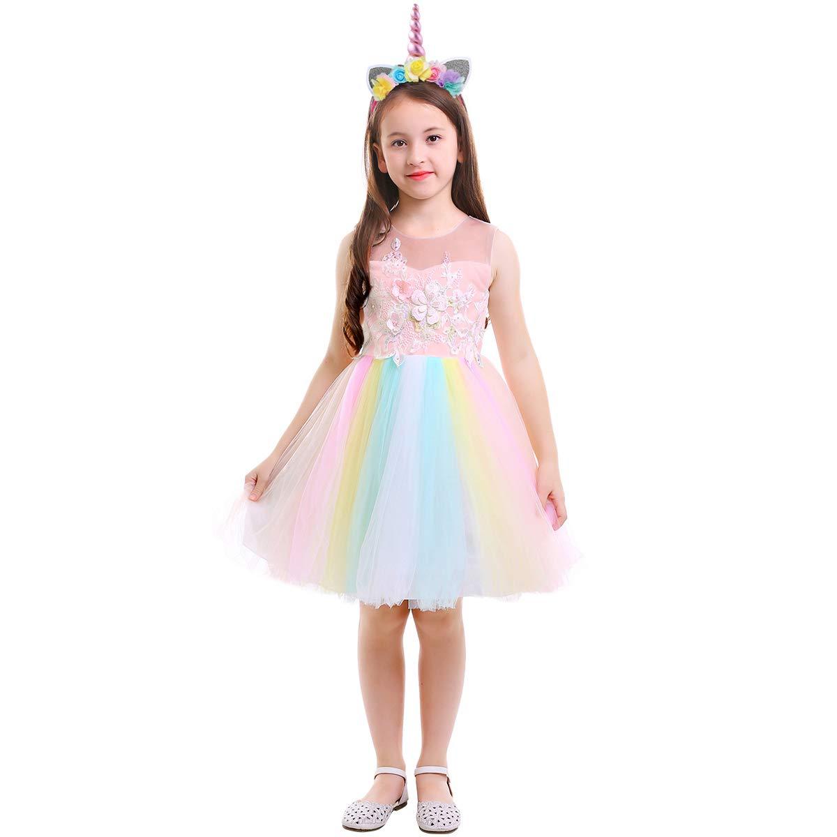 Girls Princess Tutu Fancy Dress Rainbow Unicorn Party Pageant Cosplay /& Headwear