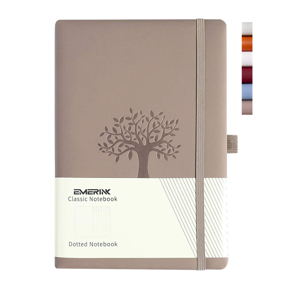 Leather A5 Notebook Journal, Bullet Dotted Journal, Tree of Life, Pocket, Elastic Closure, Pen Holder, Bookmark, Paper - 100gsm (Light Brown Tree of Life)